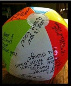 Back to School Beach Ball: This is a fun get-to-know you activity that gets kids talking. Throw the ball and have them answer the question that their thumb touches.