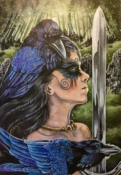 Print of Morrigan and Ravens and Morrigan Prints Original paintings by Amanda Lindupp of Sacredpathart Acrylic on canvas. Printed on 350 grams high quality silk card, signed on the back by the artist. First class Celtic Goddess, Celtic Mythology, Goddess Art, Celtic Raven, Celtic Art, Morgana Le Fay, Fata Morgana, War Tattoo, Raven Tattoo