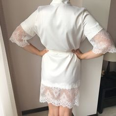 Bridal robe with lace wedding ivory robe bride robe satin Lace Bridal Robe, Bridal Nightgown, Lace Wedding, Bridesmaid Robes, Bride Gifts, Maternity Dresses, Night Gown, White Lace, Chiffon