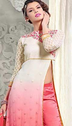 Indian Traditional Cream Pink Najneen A Line Dresses, Dress