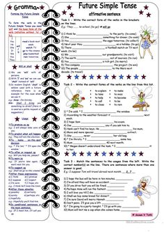 Future Simple Tense-affirmative sentences *** with grammar & key & B&W - English ESL Worksheets for distance learning and physical classrooms English Grammar Tenses, English Adjectives, Teaching English Grammar, Grammar Book, English Writing Skills, English Lessons, Learn English, English Language, English Class