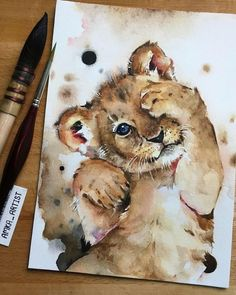 thelionking amkaartist aquarell löwe simba You can find Aquarell tiere and more on our website Art Drawings Sketches, Animal Drawings, Cute Drawings, Lion Painting, Painting & Drawing, Watercolor Illustration, Watercolor Art, Simple Watercolor, Watercolor Background