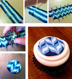DIY Chocolate Cupcake Toppers DIY Chocolate Cupcake Topper Tutorial by KC Bakes ---> plus bonus Multi-Color Frosting Swirl tips Cake Decorating Techniques, Cake Decorating Tutorials, Cookie Decorating, Decorating Cakes, Decorating Ideas, Chocolate Toppers, Chocolate Cupcakes, Chocolate Wafers, Chocolate Frosting