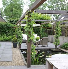 The wooden pergola is a good solution to add beauty to your garden. If you are not ready to spend thousands of dollars for building a cozy pergola then you may devise new strategies of trying out something different so that you can re White Pergola, Small Pergola, Backyard Pergola, Pergola Kits, Corner Pergola, Backyard Landscaping, Pergola Ideas, Patio Ideas, Modern Landscaping