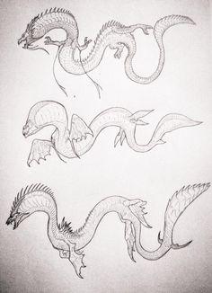 Monster Art, Monster Hunter, Godzilla, Pokemon Realistic, Alien Design, Water Dragon, Creature Drawings, Creature Design, Fantasy World