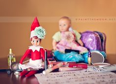 elf on a shelf playing dress up, could do this with Barbie too