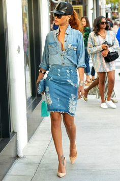 denim over denim , and baseball cap, rhiana look
