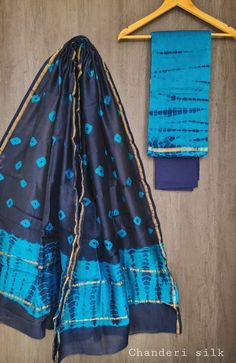 Price Rs 1600 + Shipping extra Hand block Printed chanderi silk dress materials Top and dupattas chanderi silk (2.50×2 mtrs) Bottom cotton (2.50 meters) Chanderi Suits, Chanderi Silk Saree, Silk Sarees, Cotton Dresses, Tie Dye Skirt, Blouse, Skirts, Stuff To Buy, Clothes