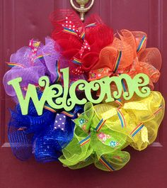 Deco mesh rainbow wreath...gay pride!