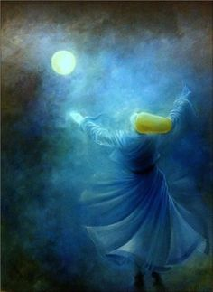 """""""Your kindness cannot be said. You open doors in the sky. You ease the heart and make God's qualities visible."""" —Rumi (Art: Dervish ,oil on canvas by Gülcan Karadağ) . Islamic Calligraphy, Calligraphy Art, Whirling Dervish, Turkish Art, Islamic Art, Art And Architecture, Painting Inspiration, Les Oeuvres, Mystic"""