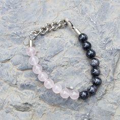 Rose Quartz  braceletwith  dark gray/black beads  by CharmByIA, $25.00