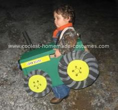 Homemade John Deere Costume: my son is two and loves tractors so much I made him a Homemade John Deere Costume for Halloween. I used a medium sized cardboard box and painted it with