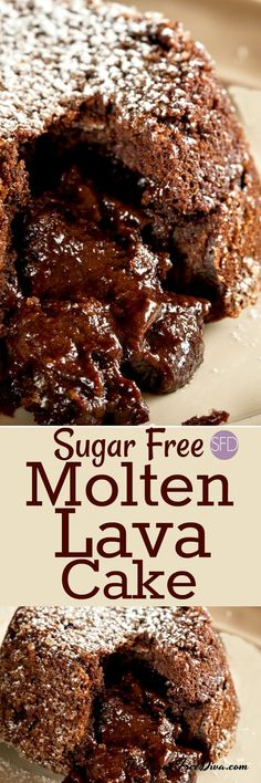 Molten Lava Cake and it is sugar free too! Yummy recipe for a great chocolate lave cake. Molten Lava Cake and it is sugar free too! Yummy recipe for a great chocolate lave cake. Sugar Free Deserts, Sugar Free Sweets, Sugar Free Cookies, Sugar Free Recipes, Diabetic Snacks, Diabetic Recipes, Diabetic Cake, Diabetic Cookies, Diabetic Cookbook