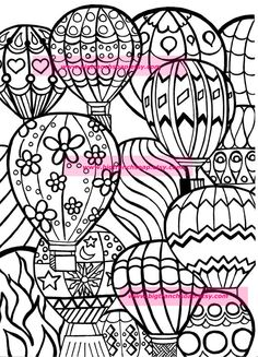 Coloring Page for Adults - Hot Air Balloons - Hand Drawn Original Art - Instant Download