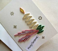 handmade paper quilled  Christmas card – Merry Christmas candle