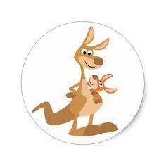 Cute Cartoon Baby kangaroo and mom - Bing images