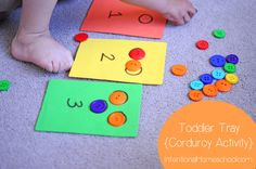 button counting toddler tray