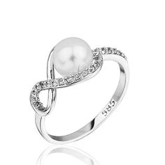 14K Solid White Gold Pearl Infinity  Ring by goldandtreasures, $138.00