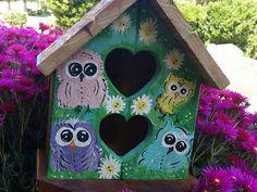 Outdoor Birdhouse Whimsy Owls  Redwood Yard Art Spring Summer