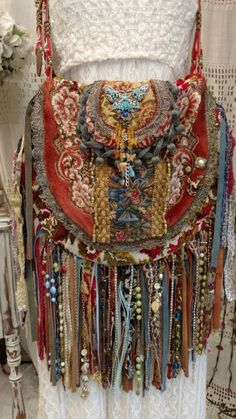 Handmade Vintage Tapestry Fringe Carpet Bag Gypsy Boho Hippie Hobo Purse tmyers