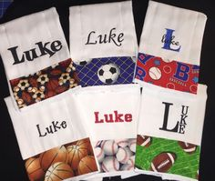 Personalized burp cloth diaper monogrammed newborn gift burp newborn gift personalized baby burp cloths set of 6 perfect baby shower gift for feeding and burping boy sports theme negle Image collections