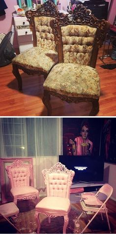 Kelly Eden's house - thrifted chairs