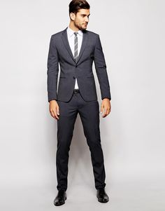 United Colors of Benetton Suit Grey in Slim Fit