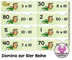 Teacher In Wonderland: Multiplikation und Division: Domino zur 10er-Reihe