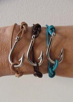 beachcomber leather fish hook bracelet - unisex nautical bracelet - men's leather bracelet