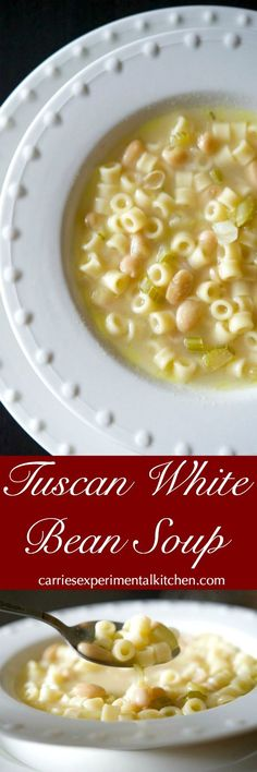 Tuscan White Bean Soup is a hearty, delicious Italian soup made with simple ingredients like celery, cannellini beans, Ditalini pasta and chicken broth. #soup via @CarriesExpKtchn