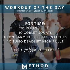 Workout of the Day January 31 2018 10 rounds for time of: -10 Goblet Squats -10 One-arm Kettlebell Snatches (alternating) -10 Kettlebell Sumo Deadlift High Pulls Use a 70/53# Kettlebell for all by: @charlottefoerschlerphoto @definedathletics @definedathleticsmethod #definedathletics #method #workoutoftheday #wod #fitness #workout #training #taskpriority #fortime #kettlebellsnatches #gobletsquats #sumodeadlifthighpulls