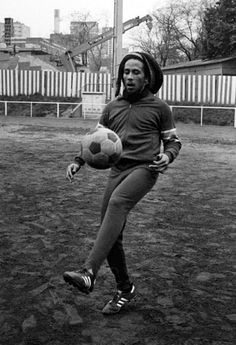Bob Marley playing soccer.