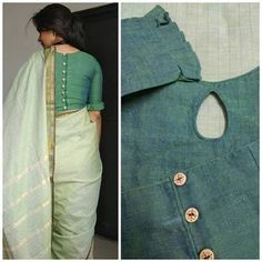 Shades of green make me a happy girl. I am so very glad with this blouse. Sleeves + keyhole in the neck + surprise element at the… Kurta Designs, Cotton Saree Blouse Designs, Saree Blouse Patterns, Designer Blouse Patterns, Fancy Blouse Designs, Neckline Designs, Choli Designs, Dress Designs, Sari Bluse