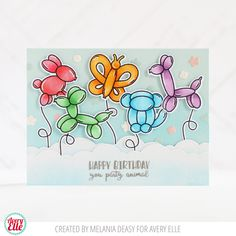 Melania Deasy for Avery Elle Supplies: More Party Animals Clear Stamps More Party Animals Elle-ments Dies Pierced Clouds Elle-ments Dies The Caribbean Collection A2 Folded Cards