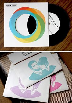 I love the idea of creating a mixed faux-vinyl cd as a wedding favor.