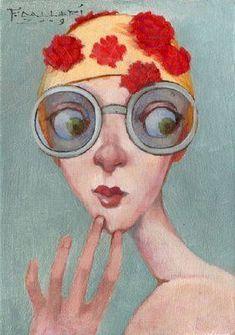 {Style} whimsy + surprise by Fred Calleri Quirky Art, Whimsical Art, Art Et Illustration, Illustrations, Art Fantaisiste, Art Visage, Foto Poster, Inspiration Art, Art Original