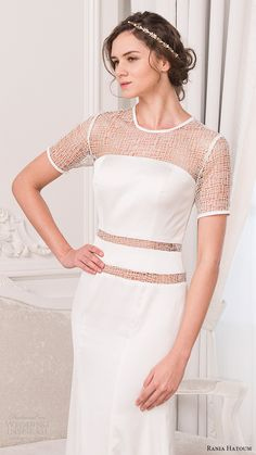 rania hatoum bridal spring 2017 short sleeves crew neck sheath wedding dress (mandy) zv