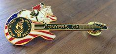 Conyers, GA Atlanta 1996 Olympic Equestrian USA Flag Guitar Pin #USA Olympic Equestrian, Guitar Pins, Usa Olympics, Usa Flag, Lapel Pins, Atlanta, Ebay, Badges