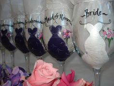 wine colored bridal bouquets | Hand Painted Personalized Bridal Party Dress Wine Glass Set - GIFT ...
