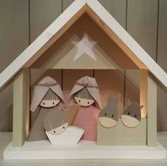 Wooden Christmas Crafts, Nativity Crafts, Christmas Cards To Make, Christmas Nativity, Christmas In July, Christmas Projects, Kids Christmas, Christmas Decorations, Christmas Ornaments