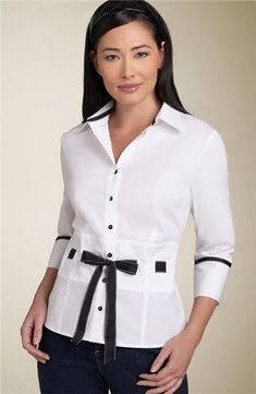 FrauenKleidung - White sleeve blouse with black front tie and black trim on cuffs and collar . Black And White Shirt, White Shirts, Black Blouse, Sewing Blouses, Womens Fashion For Work, Black Trim, Corsage, Shirt Blouses, Work Wear