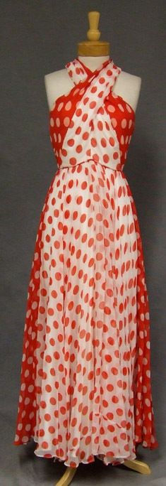 STRIKING Red & White Chiffon 1970's Halter Gown - Vintageous, LLC