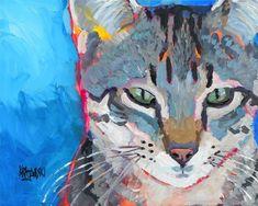 Tabby-Katze Kunstdruck von Original Acrylbild 11 von dogartstudio