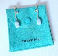 41005caa6 Tiffany & Co Silver Twist Blue Chalcedony Bead Pierced Dangle Earrings Mint!