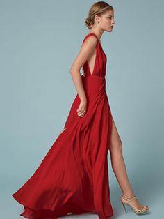 Vestido largo de poliéster rojo con cuello profundo con lazo con abertura lateral elegante