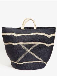 black & white straw bag