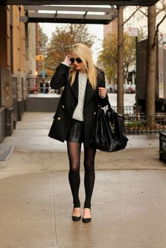 I love this fall outfit alternative to pants Atlantic-Pacific: simple layers