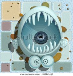 view from above. Fountain in the form of fish,  top view  #assets #game #vector #UI #cartoon #casual #awesome