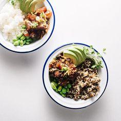 A mainland style ahi tuna shoyu poke quinoa bowl with edamame, crispy shallots and avocado. Love Food, A Food, Food Prep, Meal Prep, Ahi Tuna Poke, Quinoa Bowl, Quinoa Rice, Clean Eating, Healthy Eating
