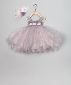 Take a look at this Pink & Gray Flower Dress & Headband on zulily today!